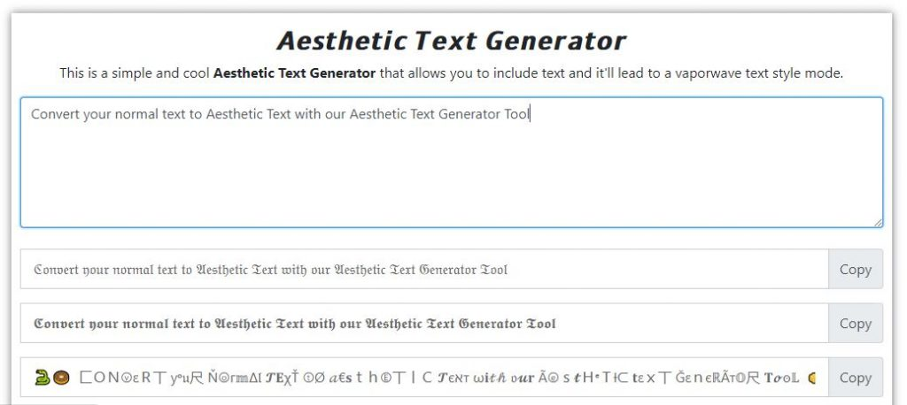 Aesthetic Text Generator Online Tool