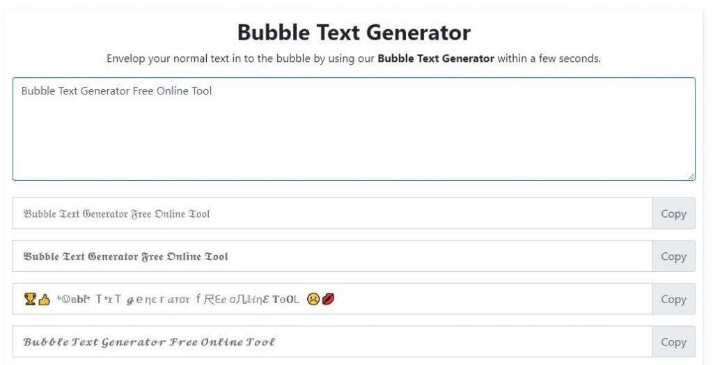 Bubble Text Generator Tool