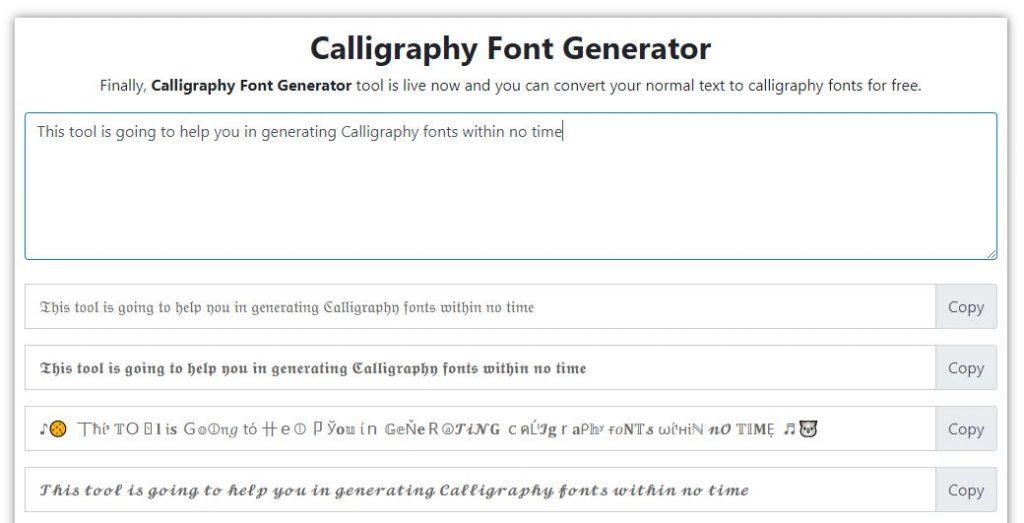 Calligraphy Font Generator Online tool