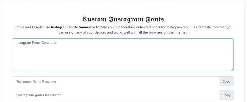 Instagram Fonts Generator Online