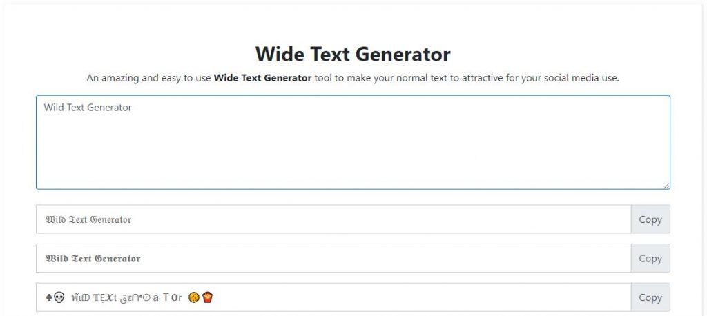 Wide Text Generator Online