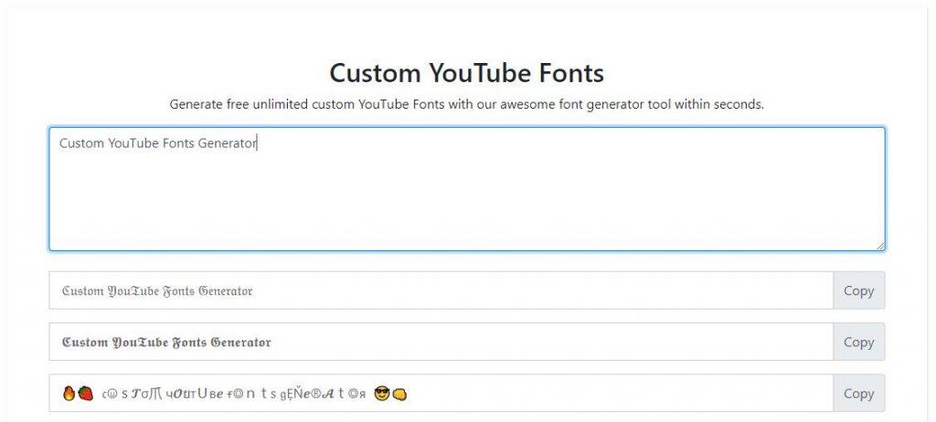YouTube Fonts Generator Online Tool
