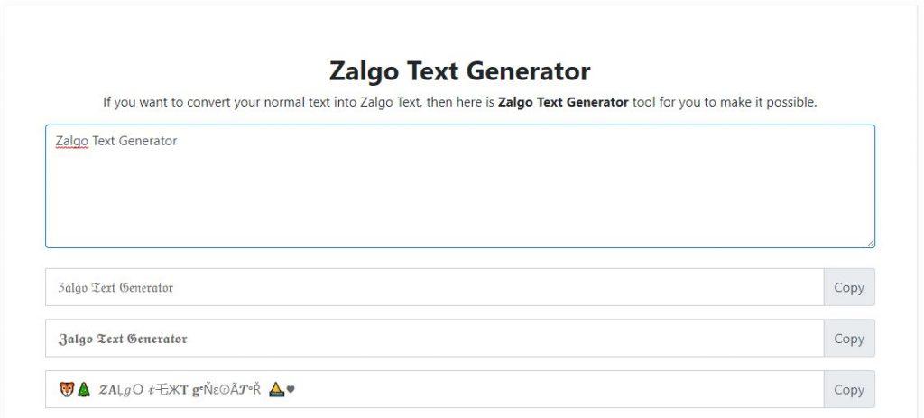 Zalgo Text Generator Online Tool
